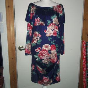 Maternity Floral Long Sleeve Off-Shoulder Dress XL
